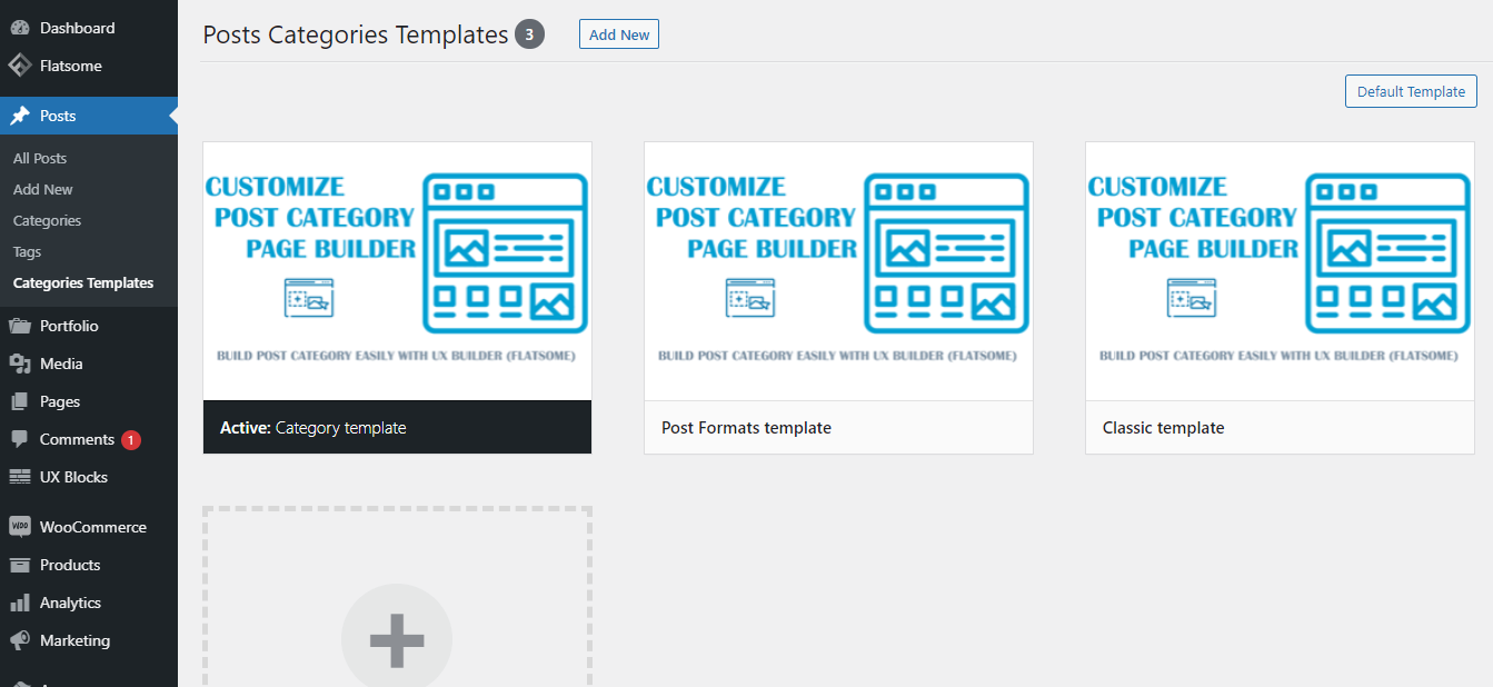 Use the template for all post category pages